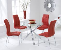 Odessa 100cm Glass Dt With 4 Red California Chairs