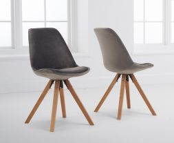 Oliver Grey Velvet Square Leg Dining Chair (Pairs)