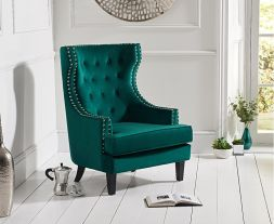 Portia Green Velvet Accent Chair