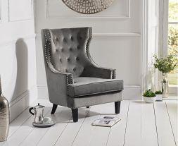 Portia Grey Velvet Accent Chair