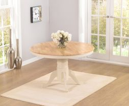 Elstree Solid Hardwood & Painted 120cm Round Dining Table (Oak & Cream)