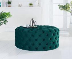 Montrose green velvet round footstool