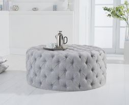 Montrose grey plush round footstool