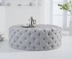 Montrose grey plush large round footstool