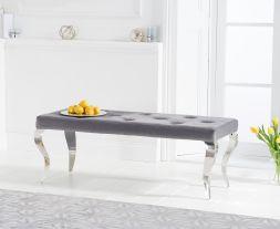 Franca 130cm grey velvet bench