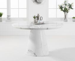 Ramiro 130cm Round White Marble Dining Table