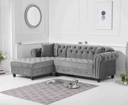 Barbican Left Facing Grey Velvet Chaise Sofa