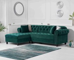 Barbican Left Facing Green Velvet Chaise Sofa
