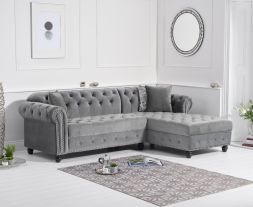 Barbican Right Facing Grey Velvet Chaise Sofa