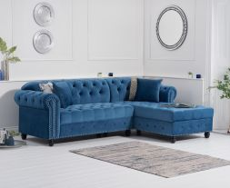 Barbican Right Facing Blue Velvet Chaise Sofa