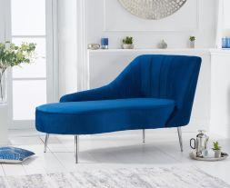 Jara Right Facing Arm Blue Velvet Chaise