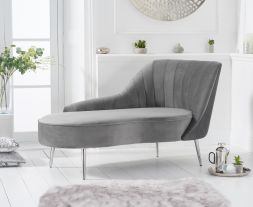 Jara Right Facing Arm Grey Velvet Chaise