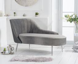 Jara Left Facing Arm Grey Velvet Chaise