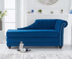 Laurn Right Facing Arm Blue Velvet Chaise