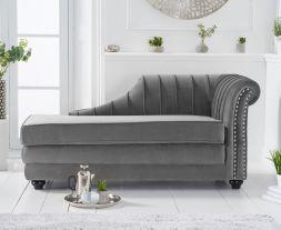 Laurn Right Facing Arm Grey Velvet Chaise