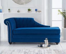 Laurn Left Facing Arm Blue Velvet Chaise