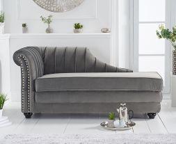 Laurn Left Facing Arm Grey Velvet Chaise