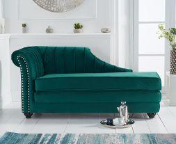 Laurn Left Facing Arm Green Velvet Chaise