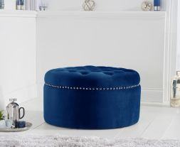 New England blue velvet footstool