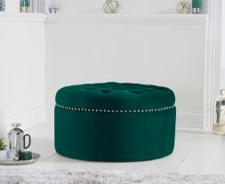 New England green velvet footstool