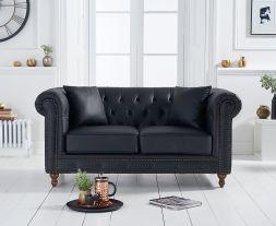 Montrose Black Leather 2 Seater Sofa