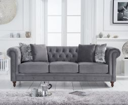 Montrose Grey Velvet 3 Seater Sofa