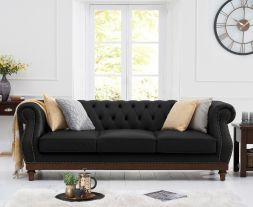 Highgrove Black Leather 3 Seater Sofa