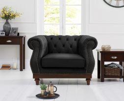 Highgrove Black Leather Armchair