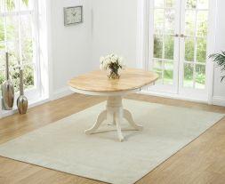 Elstree Solid Hardwood & Painted 100cm Extending Dining Table (Oak & Cream)
