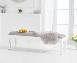 Sienna white bench with grey padded seat (to go with the 175cm table)