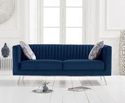 Danielle Blue Velvet 2 Seater Sofa