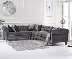 Lauren Medium Grey Velvet Corner Sofa