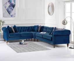 Lauren Medium Blue Velvet Corner Sofa