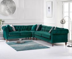 Lauren Medium Green Velvet Corner Sofa