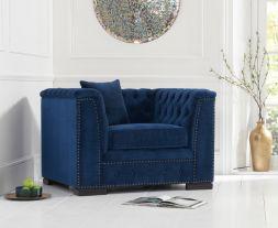 Pauletta Blue Velvet Armchair