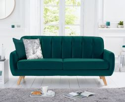 Carvella Green Velvet 3 Seater Sofa