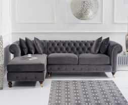 Fiona Grey Velvet 275cm Left Facing Chaise Sofa