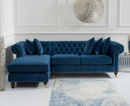 Fiona Blue Velvet 275cm Left Facing Chaise Sofa