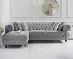 Fiona Grey Linen 275cm Left Facing Chaise Sofa