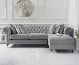 Fiona Grey Linen 275cm Right Facing Chaise Sofa
