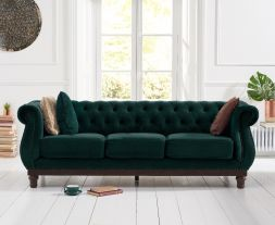 Highgrove Chesterfield Green Velvet 3 Seater Sofa