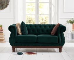 Highgrove Chesterfield Green Velvet 2 Seater Sofa