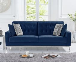 Lillian Blue Velvet 3 Seater Sofa