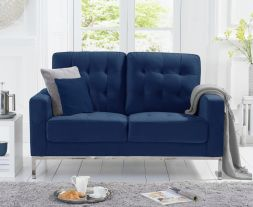 Lillian Blue Velvet 2 Seater Sofa