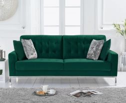Lillian Green Velvet 3 Seater Sofa