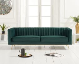 Danielle Green Velvet 3 Seater Sofa