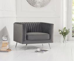 Danielle Grey Velvet Armchair