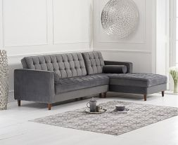 Anneliese Grey Velvet Right Facing Chaise Sofa
