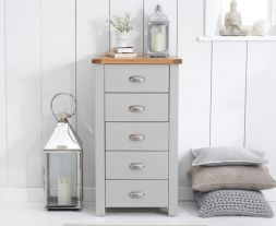 Sandringham Oak And Grey Tall 5 Drawer Chest