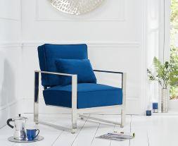 Saffron Blue Velvet Accent Chair